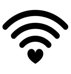 Heart wifi icon black vector