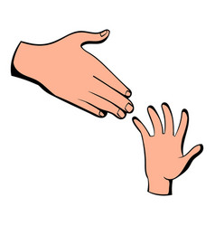 Helping hands icon icon cartoon vector