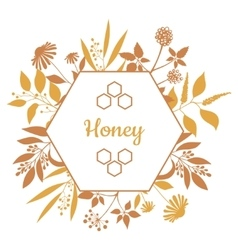 Honey Label with plants and flowers vector image