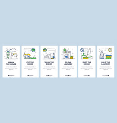 House cleaning website and mobile app onboarding vector