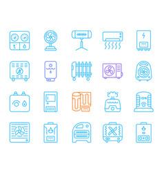 hvac simple color line icons set vector image