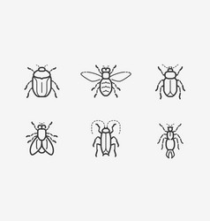 insects icon set in linear style vector image