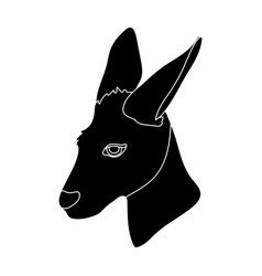 Kangaroo icon in black style isolated on white vector