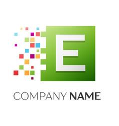 Letter e symbol in the colorful square vector