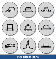 light headdress icons vector image vector image