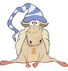 Lovely lamb Symbol of year 2015 Cartoon vector image