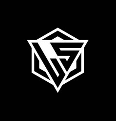 Ls logo monogram with triangle and hexagon shape vector