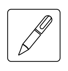 monochrome contour square with pen icon vector image