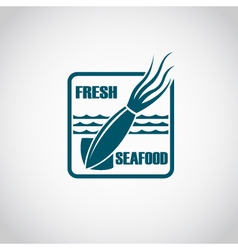 monochrome seafood icon vector image
