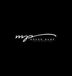 Mp handwritten signature logo template vector