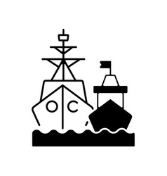 Naval fleet black linear icon vector