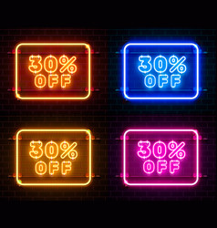 Neon 30 off text banner color set night sign vector