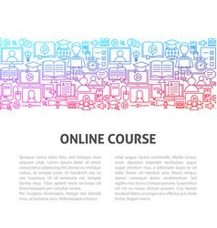 online course line template vector image