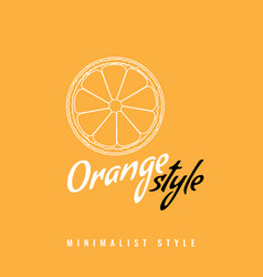 Orange slice fruit icon or symbol with line art or vector