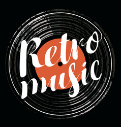 Poster for the retro music with vinyl record vector