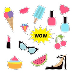 Quirky cartoon sticker patch badge set Fashion pin vector image