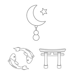 Religion and belief outline icons in set vector