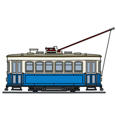 Retro blue and white tramway vector