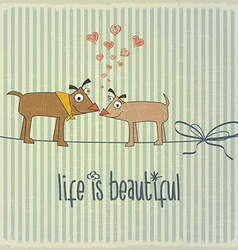 Retro with happy couple dogs in love and phrase Li vector image