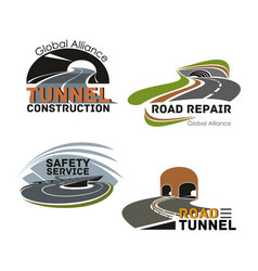 Road building company or maintenance service icon vector