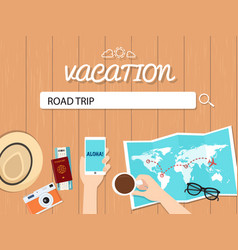 road trip search graphic for vacation vector image