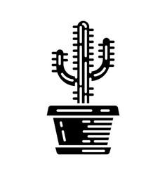 Saguaro cactus in pot glyph icon vector