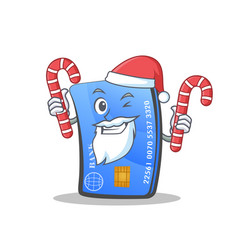 Santa credit card character cartoon with candy vector