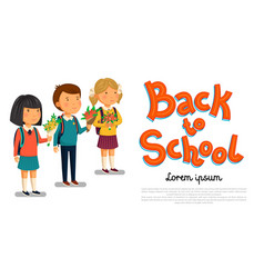 schoolboy and schoolgirls with back to vector image
