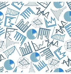 Seamless business charts financial graphs pattern vector