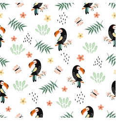 seamless pattern with toucan cute animal vector image
