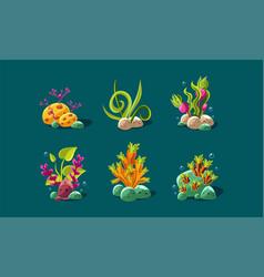 seaweed and underwater plants set fantasy plants vector image