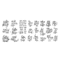 set black and white hand written lettering vector image