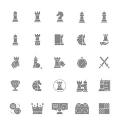 set chess gray icon board game king queen vector image