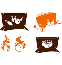 Set of bowling silhouette icons vector image