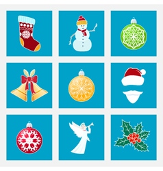 Set of Colorful Christmas Icons vector