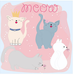 set of cute cat and meow word cartoon vector image
