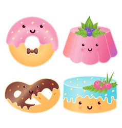 set of cute sweets jelly pudding donut pretzel vector image