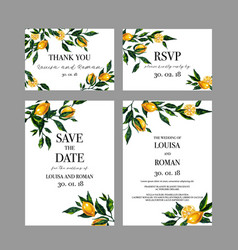 Set of watercolor wedding cards with lemon vector
