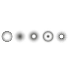 set simple halftones black gradient circles of vector image