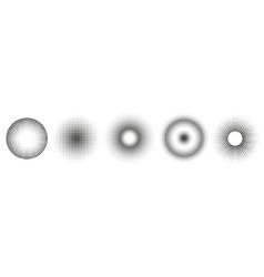 set simple halftones black gradient circles vector image