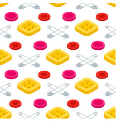 Sewing equpments safety pins and buttons seamless vector