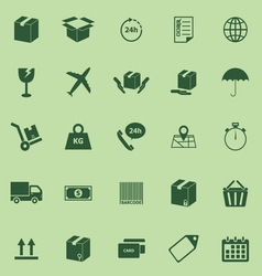 Shipping icons on green background vector image