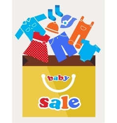Shopping bag with baby toy and cloth icons vector