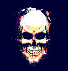 skull artistic splatter yellow n orange vector image