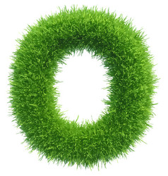 Small grass letter o on white background vector