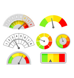 speedometer speed indicators interface set vector image