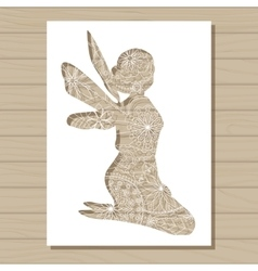 stencil template of fairy on wooden background vector image