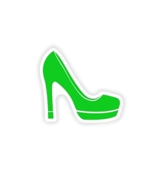 stylish paper sticker on white background shoes vector image