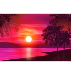Summer night Palm trees on the background of vector image