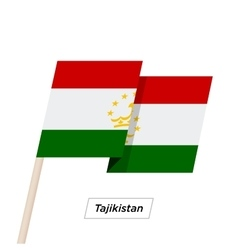 Tajikistan Ribbon Waving Flag Isolated on White vector image